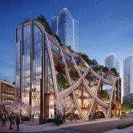 """Heatherwick Studio reveals designs for """"gigantic planted pergola"""" in Tokyo"""