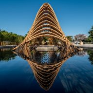 Zuo Studio builds arching bamboo pavilion over water in Taiwan