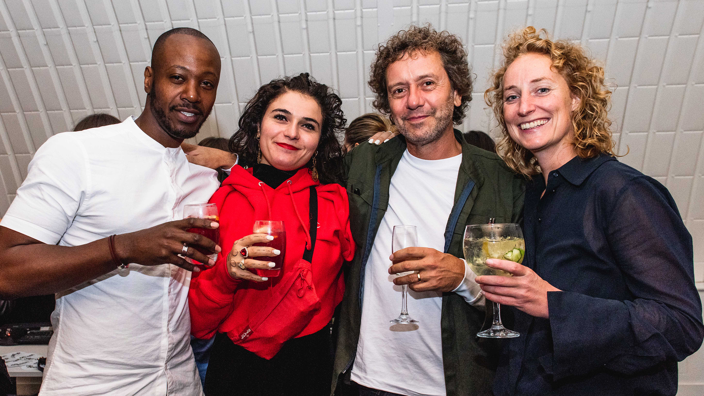 Marcus Thomas and Dezeen Awards 2019 judge Nelly Ben Hayoun with Dezeen's founder and editor-in-chief Marcus Fairs and Atelier NL co-founder Lonny van Ryswyck
