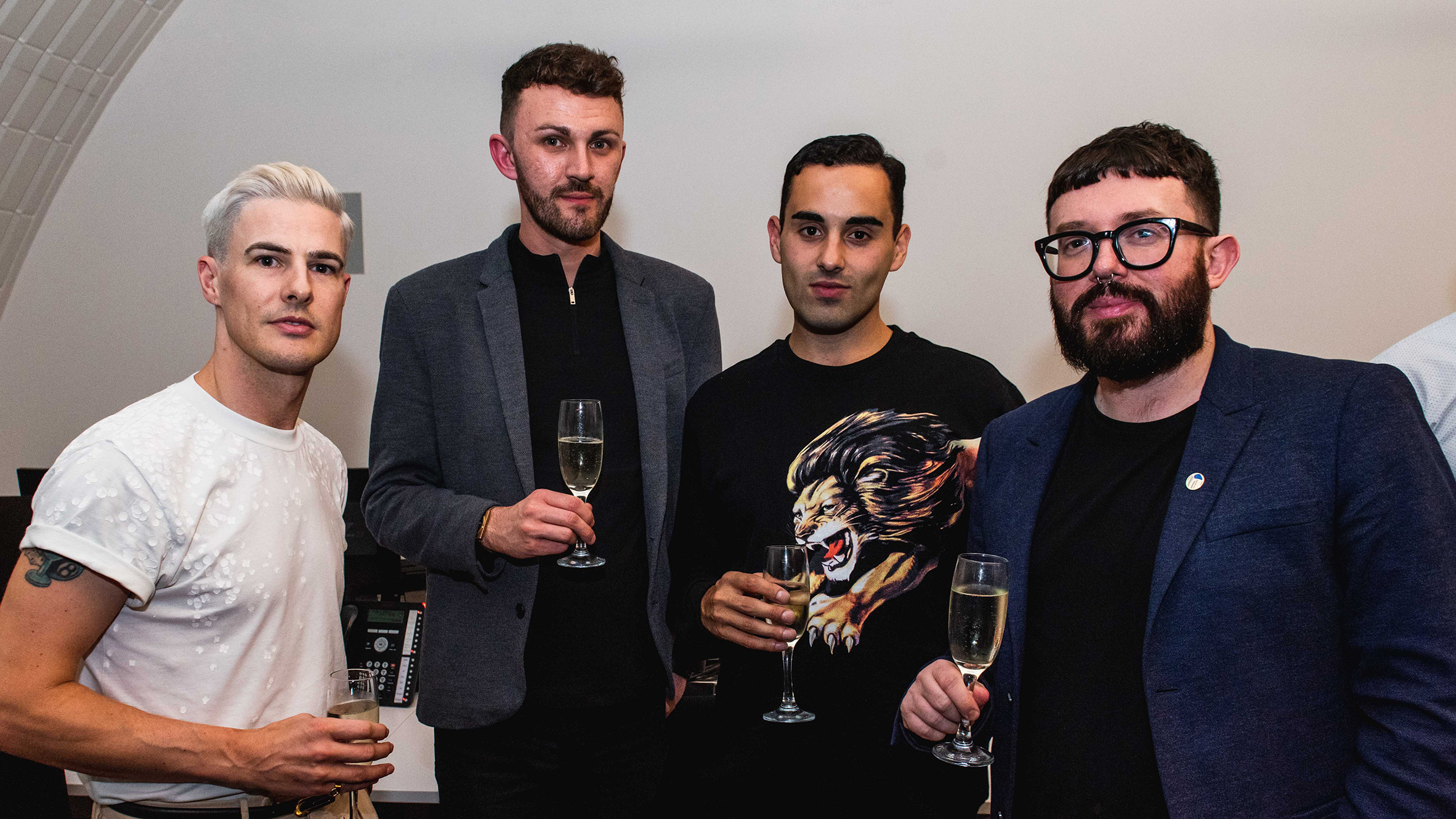 Designer Lee Broom with Brody Harrington-Lee, Jim Gurr and Carlo Di Nardo