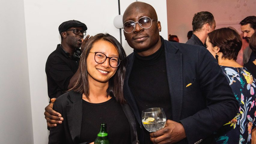 SO-IL co-founder Jing Liu with NLÉ founder Kunlé Adeyemi, both of whom judged this year's Dezeen Awards