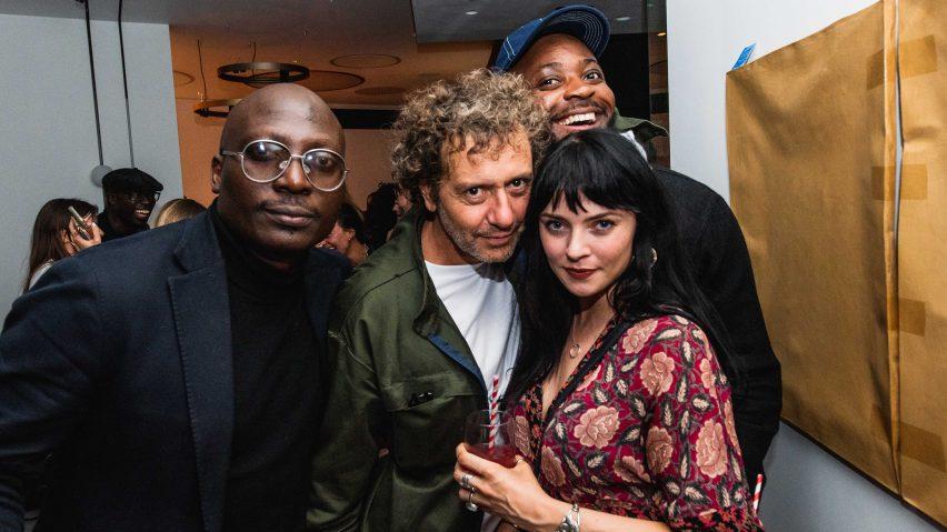 NLÉ founder Kunlé Adeyemi, Dezeen's Marcus Fairs and Aisling Cowley with designer Yinka Ilori