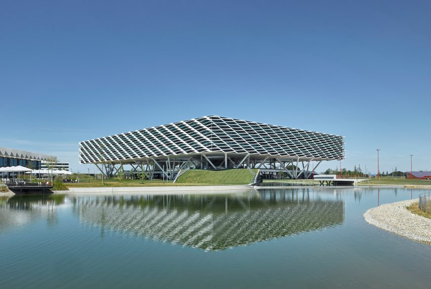 World of Sports Arena, on Adidas campus in Herzogenaurach, Germany, by Behnisch Architekten