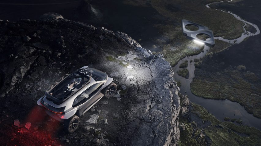 Audi replaces headlights with drones and seats with hammocks in AI:Trail car