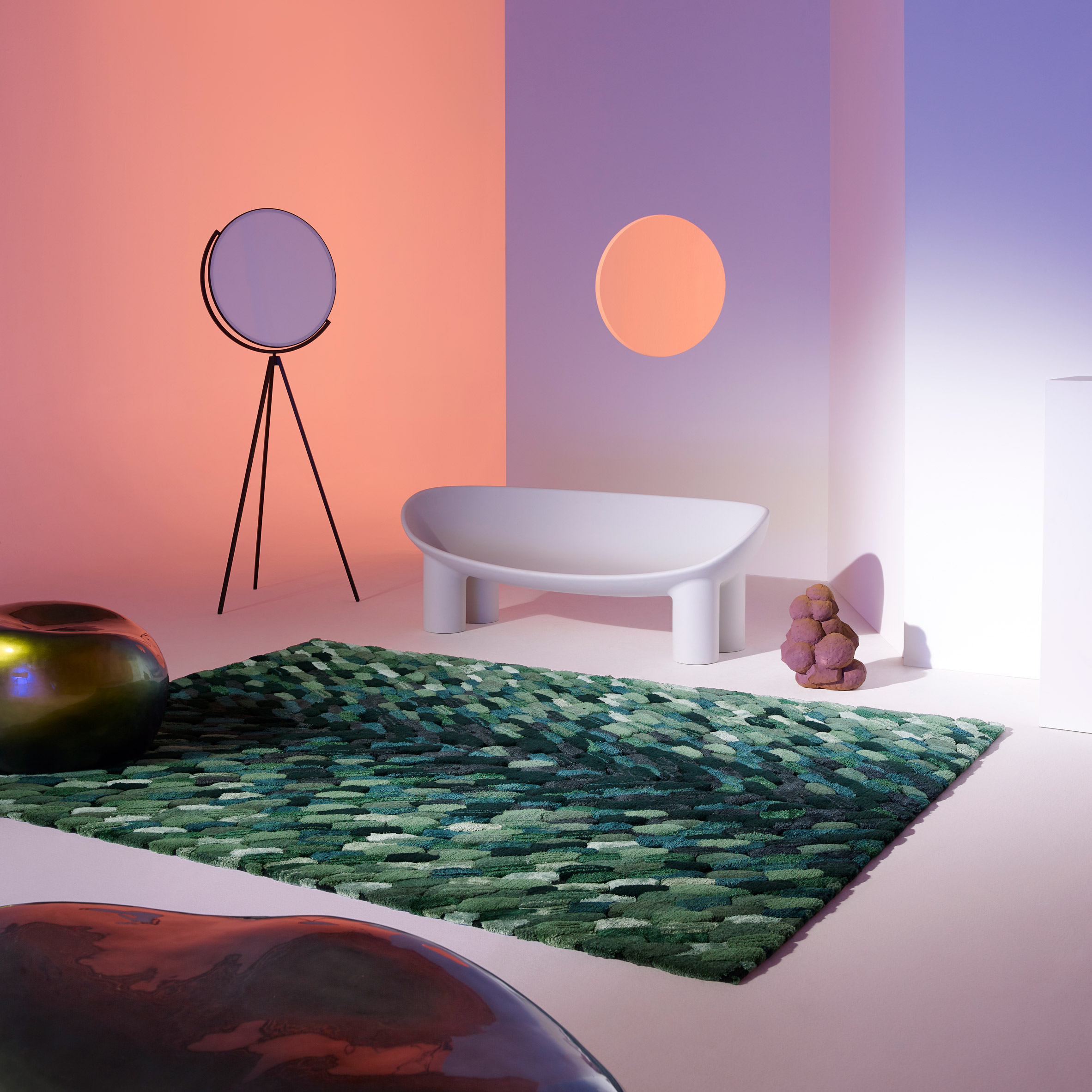 Spectrum Campaign By Cc Tapis Shows Rugs Against Kaleidoscopic Set