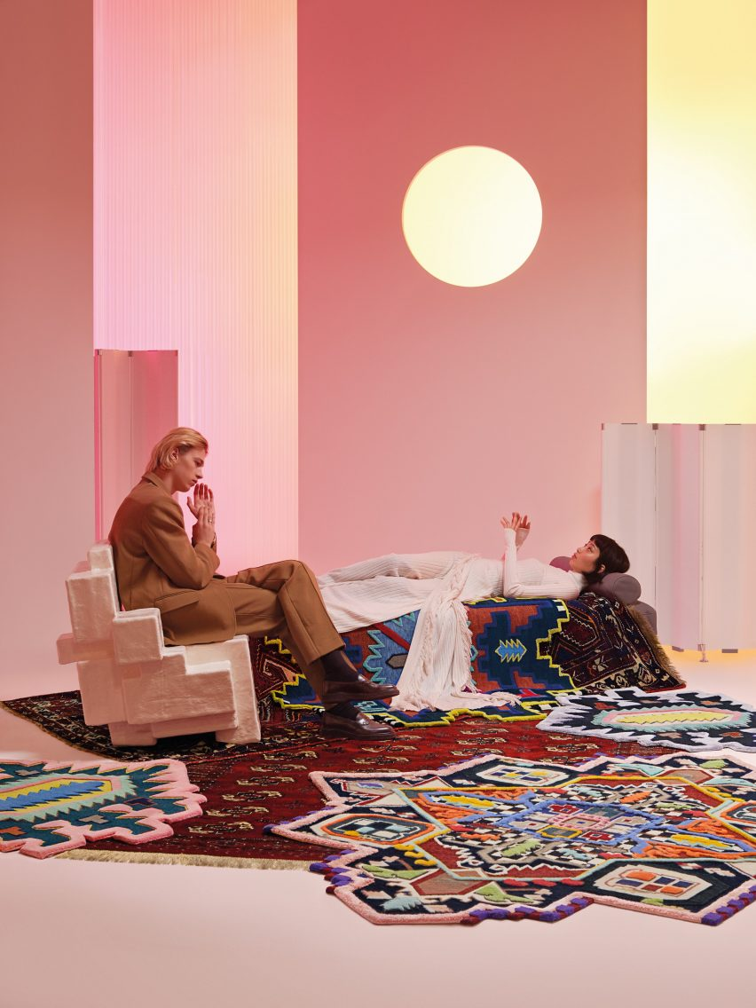 Rug invaders by the Cc-Tapis design-lab for the Spectrum catalogue. Photography is by Alessandro Oliva.