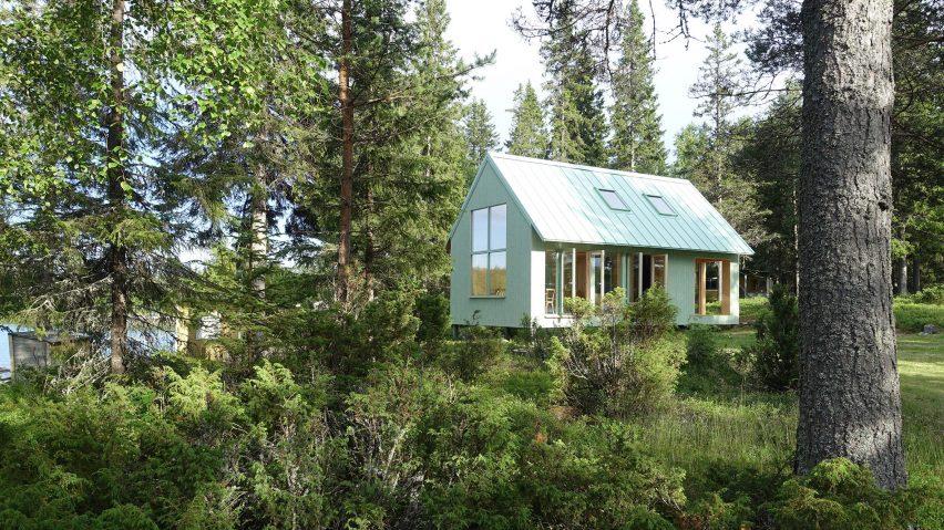 Bornstein Lyckefors builds pale green cabin on rural Swedish island