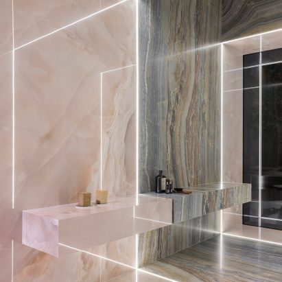 Iris Ceramica designs ceramic tile collection inspired by iridescent onyx stones