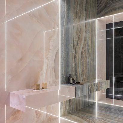 Iris Ceramica designs ceramic tile collection inspired by iridescent onyx stones