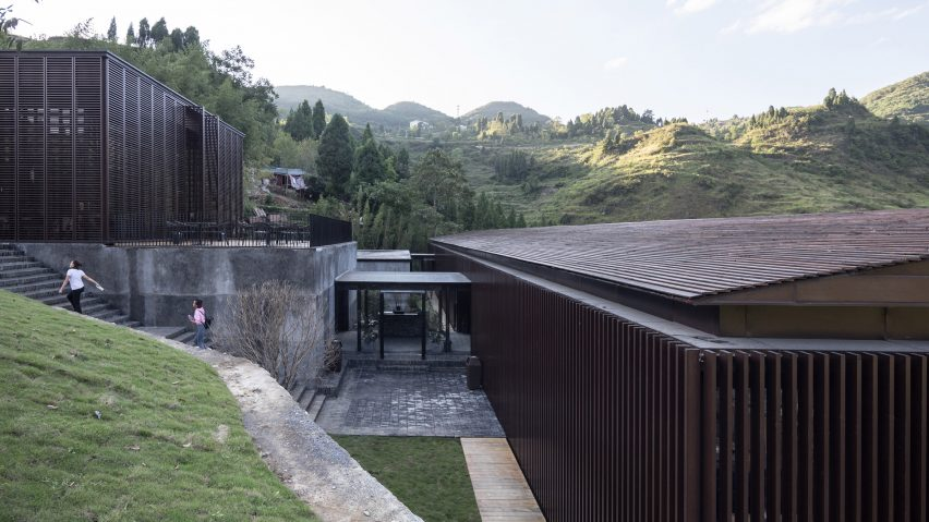 Folding timber shutters open Mountain Bar & Restaurant to the air in China
