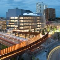 Weathering steel PedX bridge connects Northeastern University campus with science block