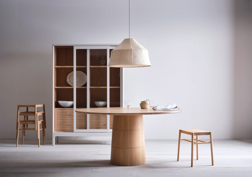 Furniture shown in Shaker-style interiors