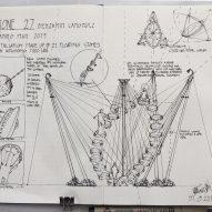 Sketchbook detail of Stone 27 installation at Burning Man 2019 by Benjamin Langholz