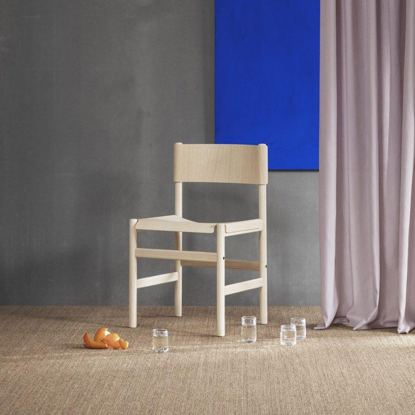 Veneer seat and backrest drape over frame of Thomas Bentzen's Soft Chair