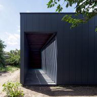 Monolithic black house conceals internal courtyard containing a single tree