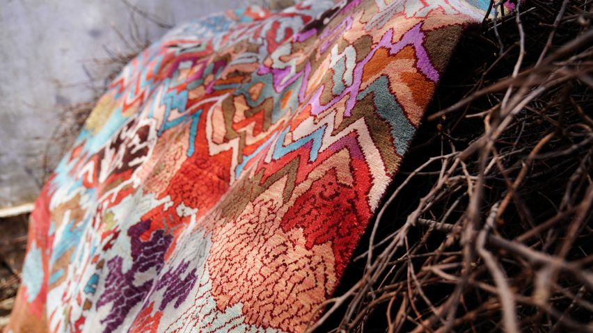 Manju Devi's abstract Aas Pass rug is inspired by rural village life