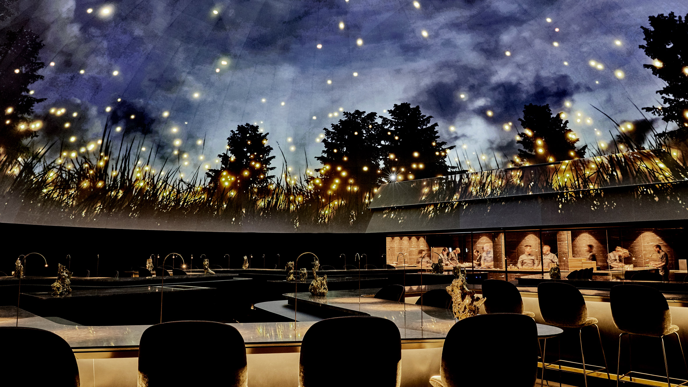 Planetarium Style Ceiling Arches Over Diners Inside The