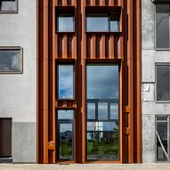 Weathering steel facade covers CLT-framed Dutch row house