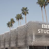 BBC Studios pavilion by Universal Design Studio and Giles Miller Studio at MIPCOM trade show in Cannes