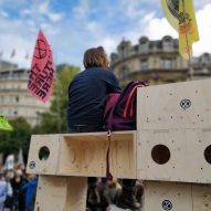 "Modular boxes used by Extinction Rebellion are ""protest architecture"""