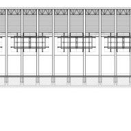 Longitudinal section of Grupo Arca showroom by Esrawe Studio