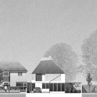 Front elevation of House in a Garden by David Leech Architects