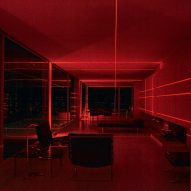 Geometry of Mies van der Rohe's Farnsworth House illuminated with red lasers