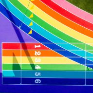 Nike paints Los Angeles running track in pride flag colours