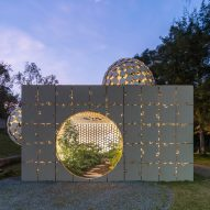 Bubbles protrude from concrete puzzle pavilion at Design Week Mexico