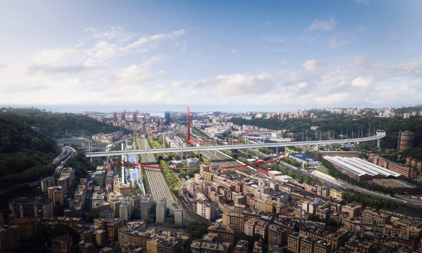 Polcevera Park and The Red Circle masterplan for under the Genoa bridge by Stefano Boeri Architetti with Metrogramma Milano and Inside Outside