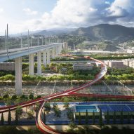 Stefano Boeri designs elevated walkway to be built under Renzo Piano Genoa bridge