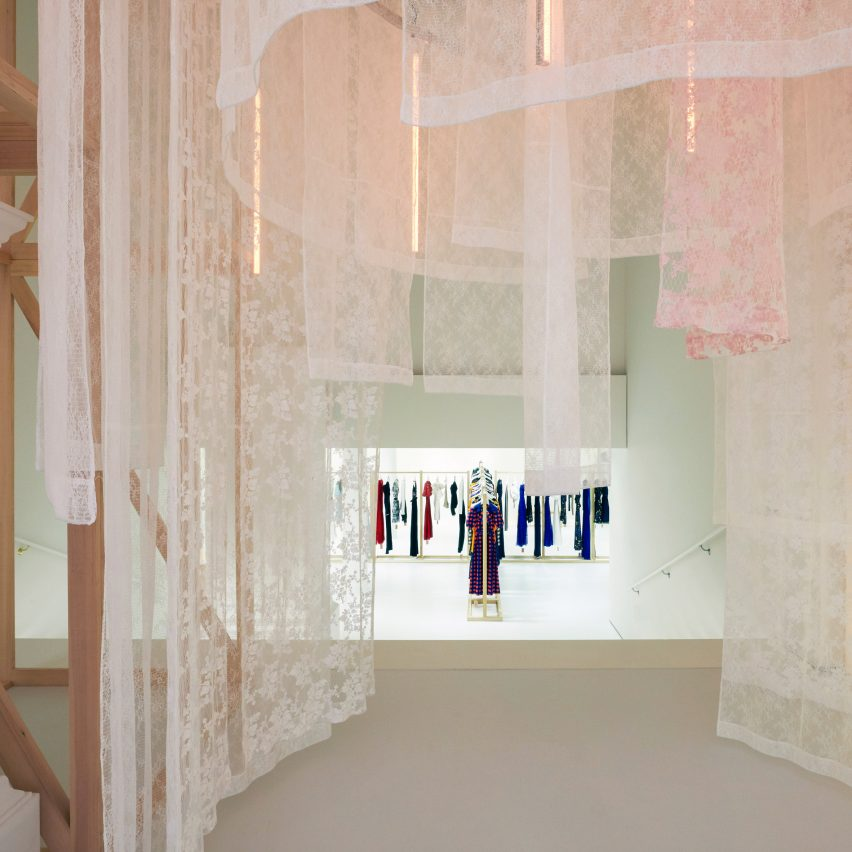 Labyrinth of hanging lace entices visitors inside Self-Portrait's New York pop-up