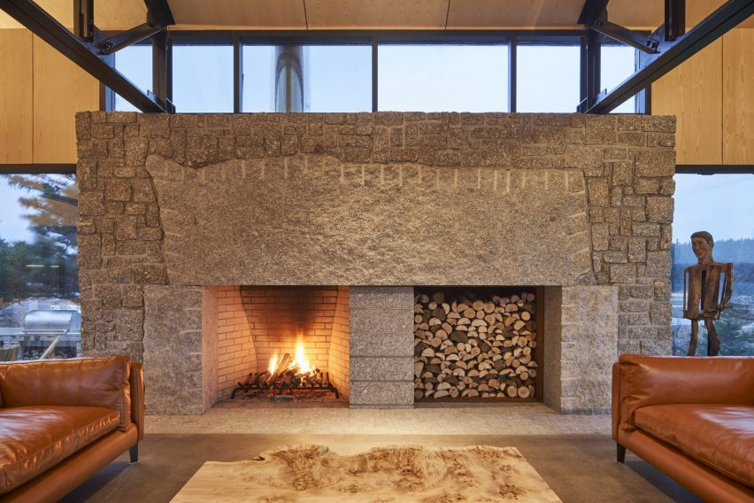 Massive stone fireplace