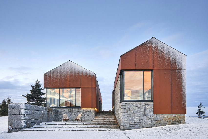 "Smith Residence by MacKay-Lyons Sweetapple is a ""village"" of gabled steel structures"