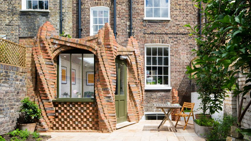 Sculptural brick columns support Twist House extension by Urban Mesh in London