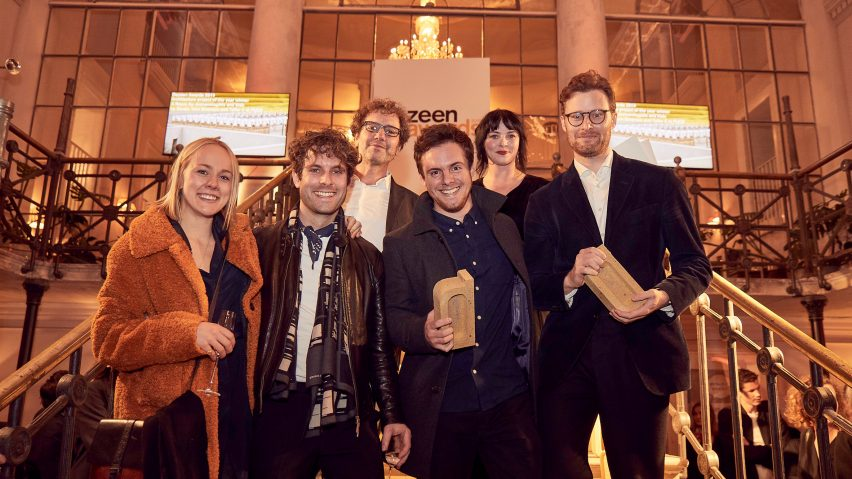 Géraldine Recker, Guillaume Othenin-Girard, Francisco Otero Berta and Phillip Shelley collecting their trophy for Architecture Project of the Year