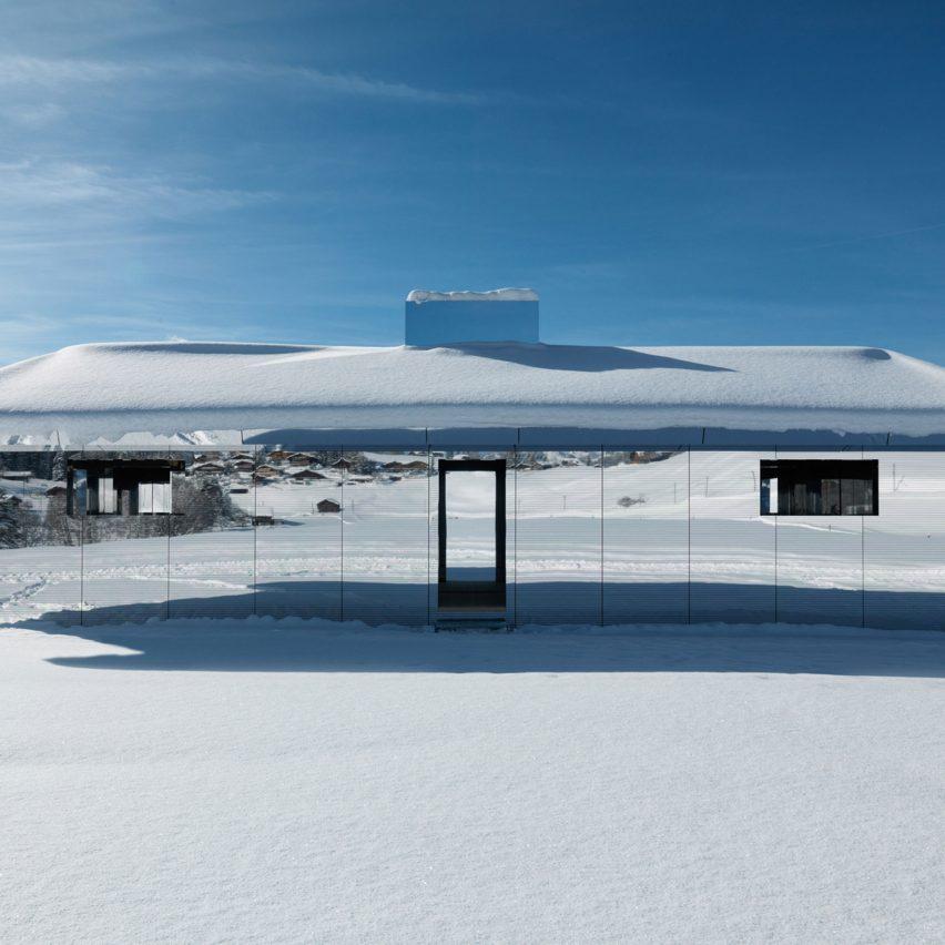 Dezeen's top 10 architecture trends 2019: Doug Aitken Gstaad mirrored house installation