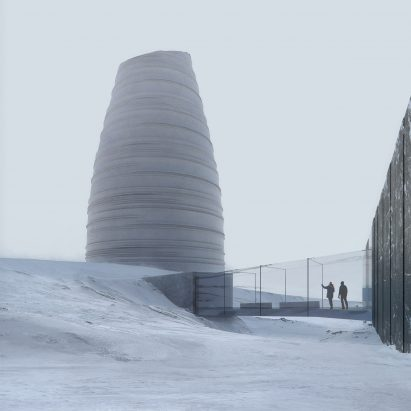 The Arc Visitor Center for Arctic Preservation Storage in Svalbard by Snøhetta