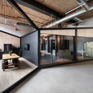 Angular black frames form studios in Toronto visual effects office