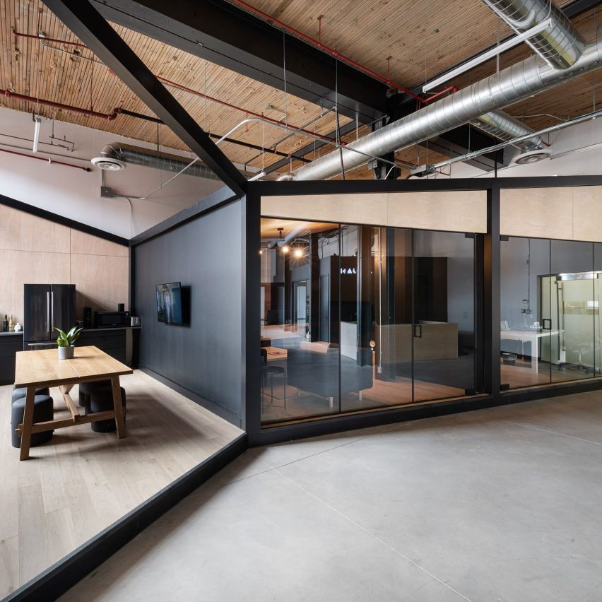 Angular black frames form studios in Toronto visual effects office