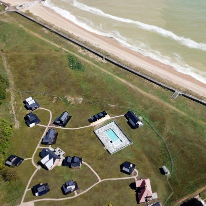 Cabü cabins by the sea in Dymchurch, Kent, England
