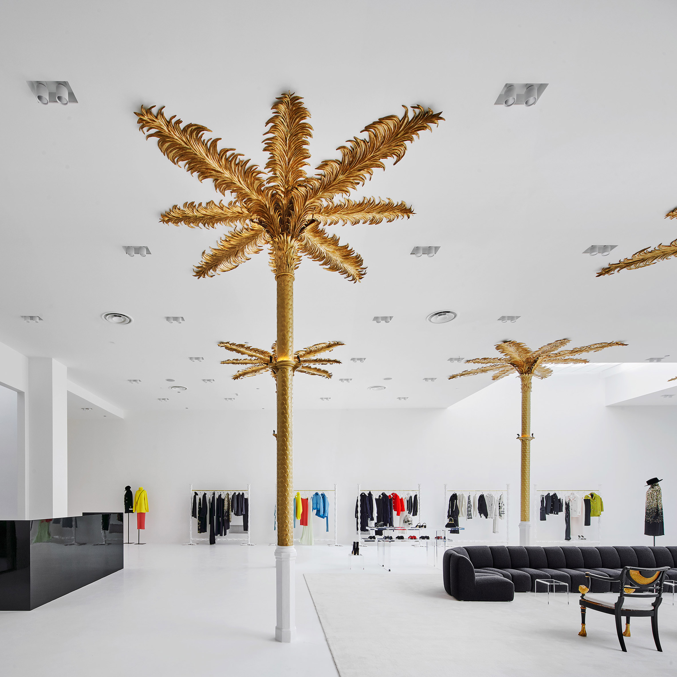 Gold Palm Trees Adorn The Monochromatic Interior Of Darial Concept Store