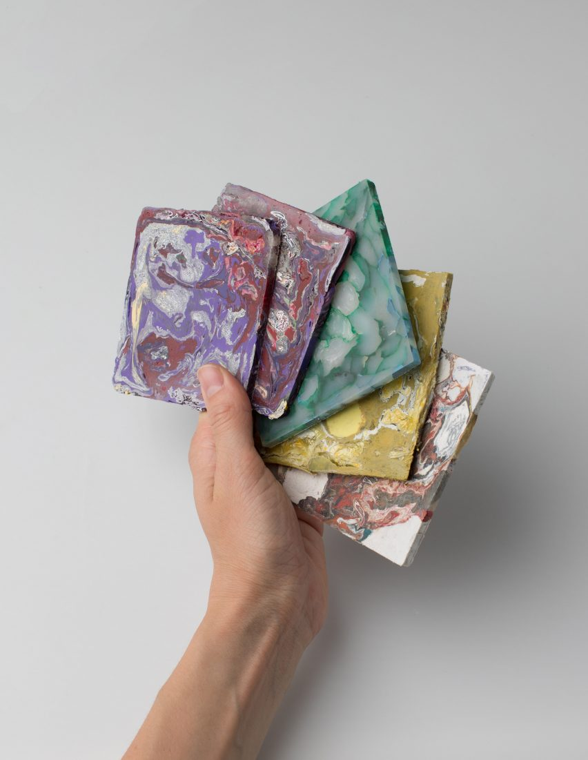 Enis Akiev makes marbled tiles from post-consumer plastic waste