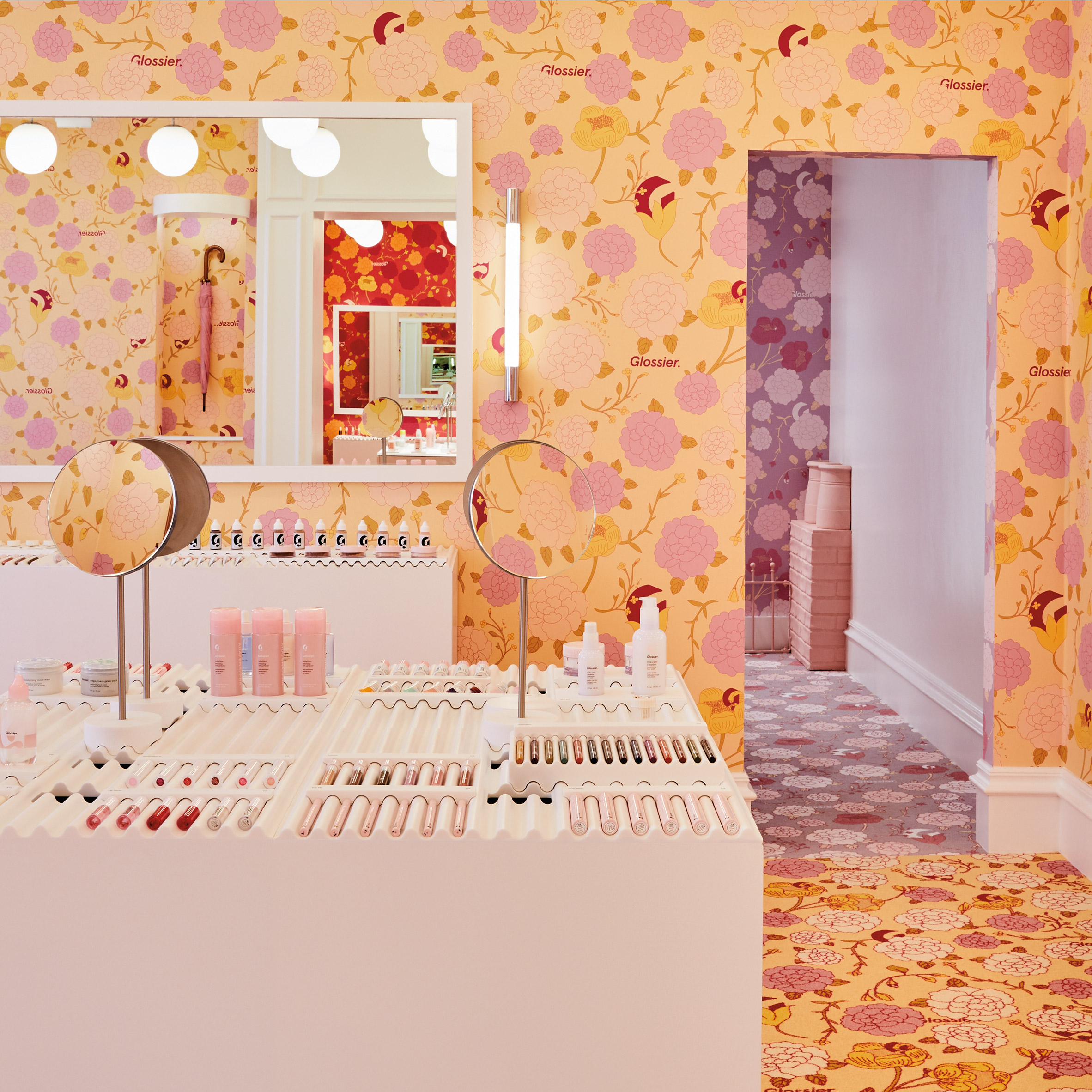 Glossier S Floral Pop Up Store In London Blooms With Colour