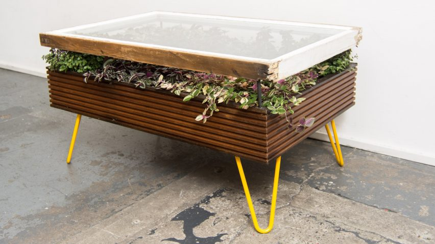 Hackney Botanical makes plant-filled tables from reclaimed window frames