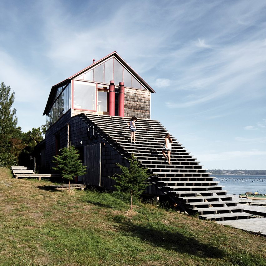 Dezeen's top 10 staircases of 2019: Isla Lebe, Chile,by Guillermo Acuña