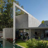 Angular roof tops concrete garden annex for São Paulo home