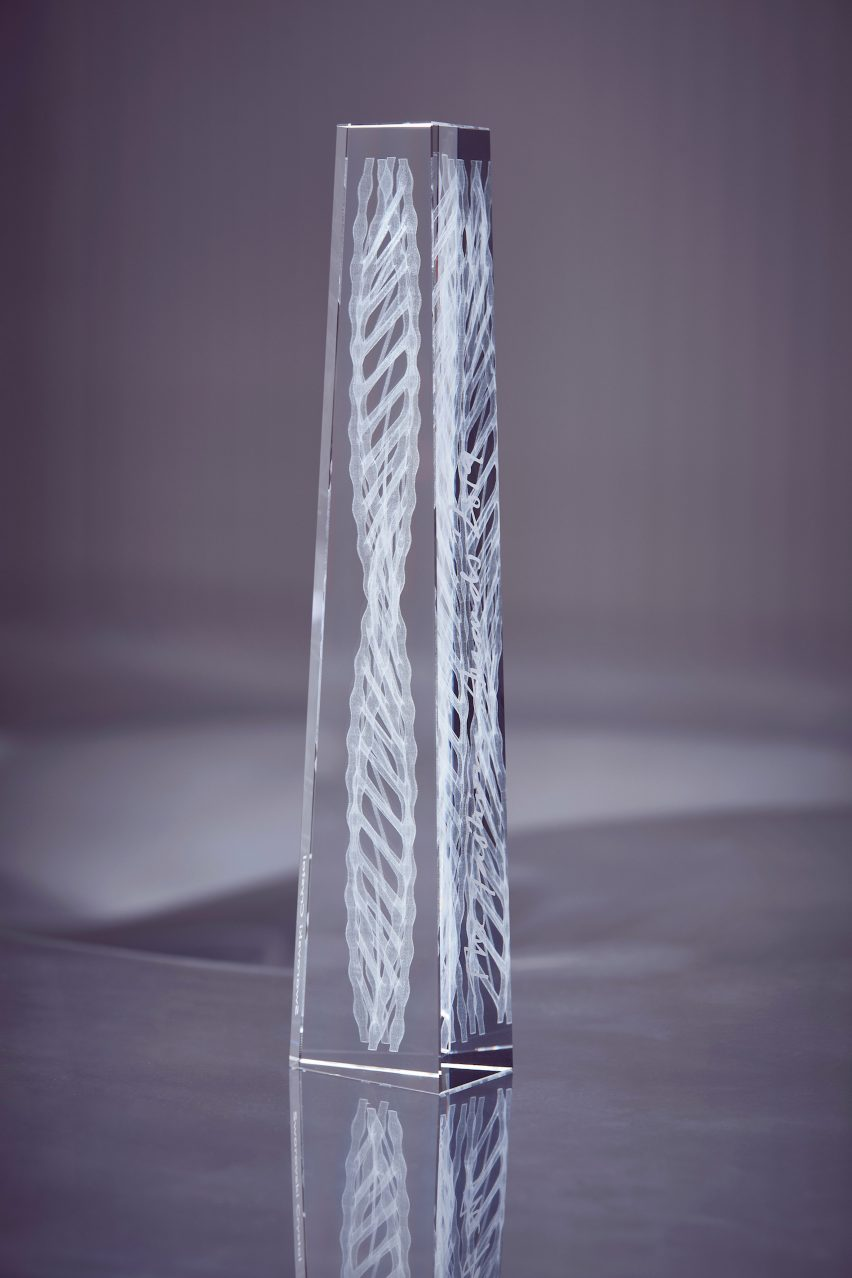 Ross Lovegrove creates crystal trophy with internal double helix for Fashion Awards 2019