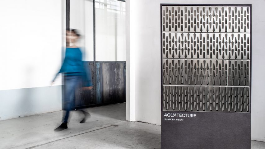 Aquatecture rain-catcher panel by Shaakira Jassat