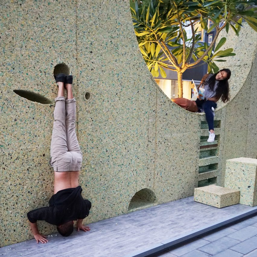 T Sakhi's Lebanon pavilion uses a wall to activate social interaction
